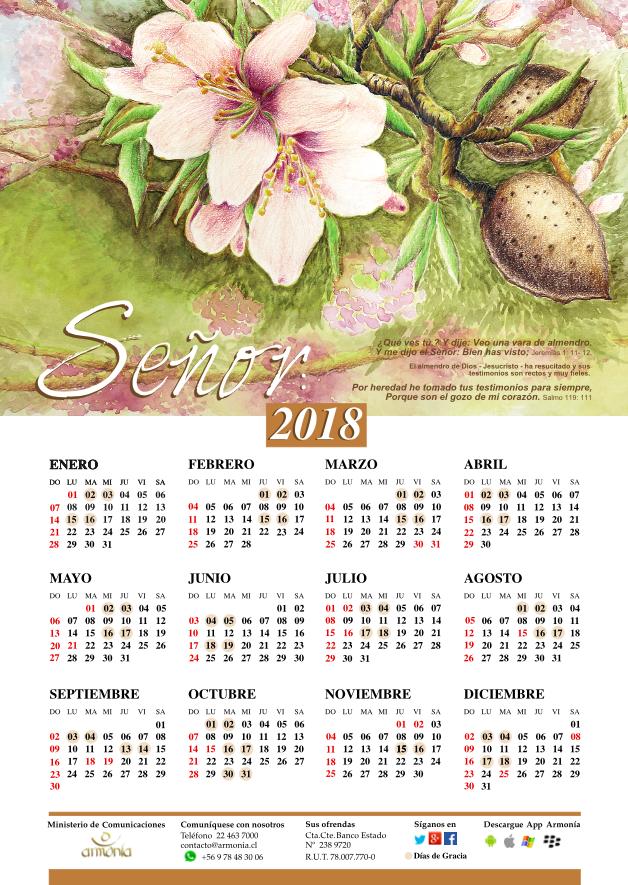 Descarga aquí el calendario 2018 y los Salmos de la semana